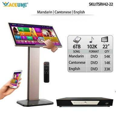 6TB HDD 102K Chinese English Songs,Touch Screen Karaoke Player,Cloud,TSR,22''