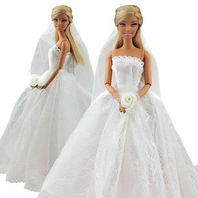 Beautiful Bridal Wedding Gown Embroidery Dress w/ Veil For Doll Toy Gift