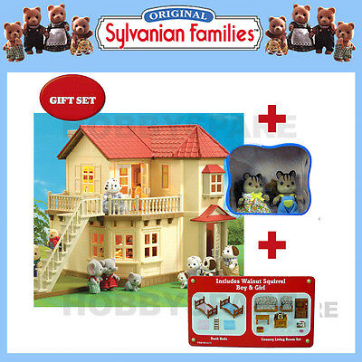 SYLVANIAN BEECHWOOD HALL GIFTSET w  COUNTRY LIVING FURNITURE + BEDS + SQUIRRELS