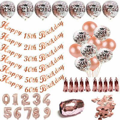 Rose Gold Happy Birthday Party Bunting Banner Latex Balloons 18/21st/30/40/5060