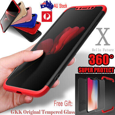 360° Full Body Slim Hybrid Shockproof Cover Case Tempered Glass iPhone X XS Max