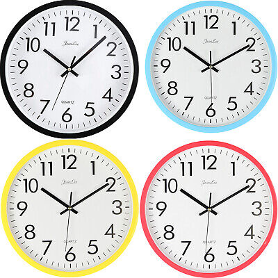 New Large Vintage Silent Analogue Round Wall Clock Home Bedroom Kitchen Quartz
