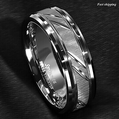8mm Tungsten Carbide Ring Silver leaf New Brushed Style Bridal ATOP Jewelry