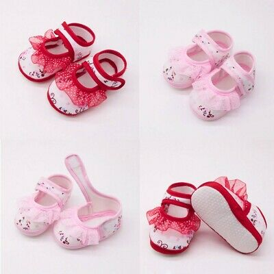 Newborn Toddler Baby Kids Girls Soft Shoes Soled Lace Floral Footwear Crib Shoes