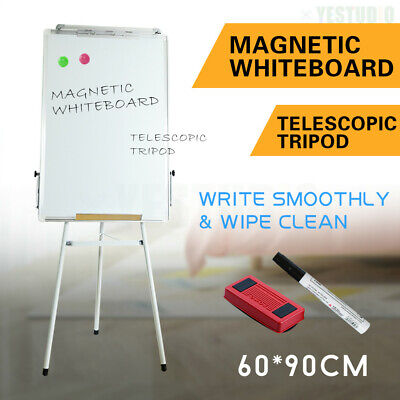 Portable Magnetic Easel Whiteboard Stand Telescopic Tripod 60x90cm School Office