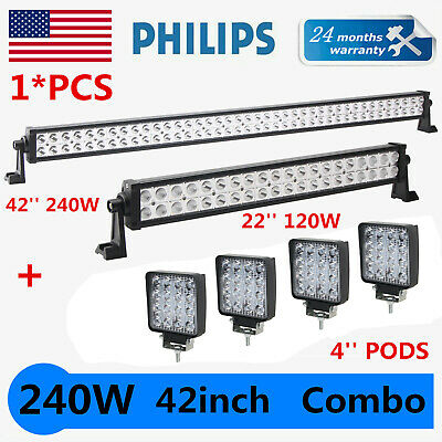 """42Inch Philips LED Light Bar Combo + 22"""" + 4"""" 48W PODS SUV 4WD UTE FORD TRUCK 40"""