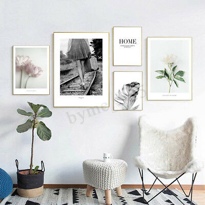 Scandinavian Flower Feather Poster Nordic Wall Art Canvas Prints Unframe !