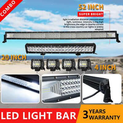 "Curved 50Inch LED Light Bar + 20in +4"" CREE PODS For OFFROAD SUV 4WD ATV JEEP 52"