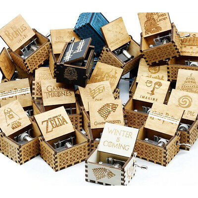 Retro Wooden Music Box Antique Hand Crank Engraved Toys Kids Birthday Gifts