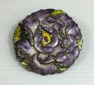Antique Chinese Silver Enamel Lotus Flower Belt Buckle Converted Into Brooch