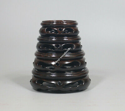 base Chinese black hard wood ebony carved 1 set 4 PC round stand display