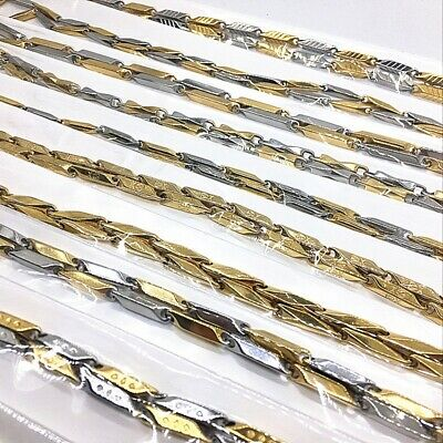 10pcs Top Men's Gold Stainless Steel Necklaces Link Chains Rock Punk Style