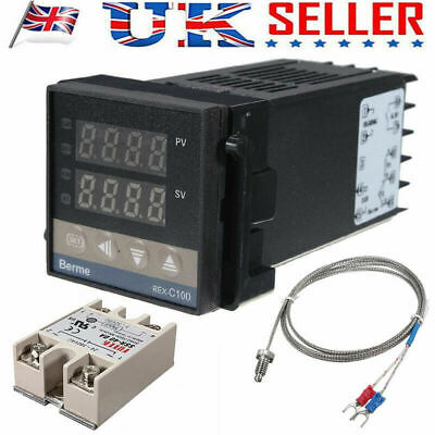 220V NEW PID Temperature Controller REX-C100 +Solid State Relay + K Thermocouple