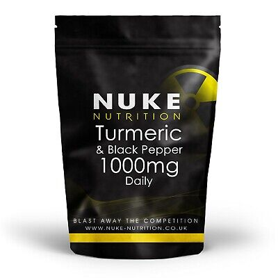 Turmeric and Black Pepper Capsules 1000mg Tablets Daily Curcumin x 120