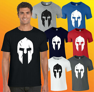 Spartan Helmet T-Shirt, Gym Fitness Training Workout Bodybuilding Mma Adults Top