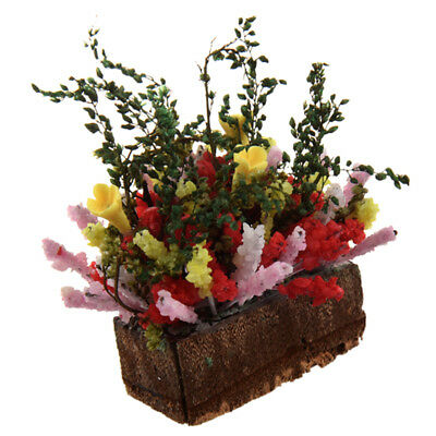 1/12 Dollhouse Miniature Multicolor Flower Bush With Wood Pot P4Q5