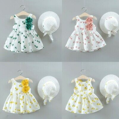 2PCS Toddler Kids Baby Girls Ruched Floral Dress Princess Hat Outfit Set Clothes