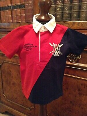 Baby Boys' Polo by Ralph Lauren Short Sleeve Red & Blue Rugby Top - Age 9 Months