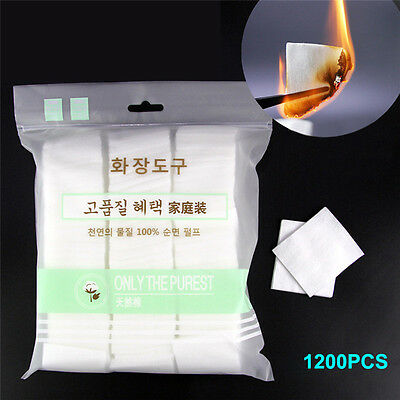 1200pcs Pure Cotton Pads Facial Makeup Cleaning Remover' Cotton Puff Daily Tool