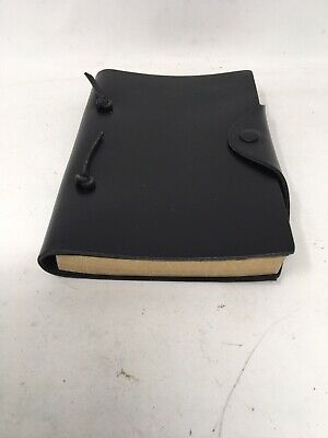 New Black Leather Journal Notebook With Flat Snap  Perforated Artisan Paper