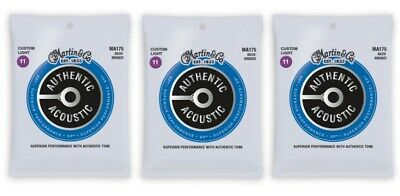 Martin MA175 Authentic Acoustic SP Strings - 80/20 Bronze Custom Light (3-Pack)