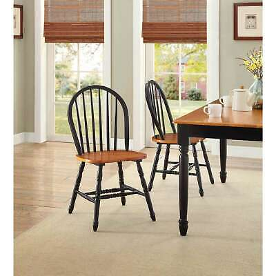Dining Room Chairs Set of 2 Farmhouse Wood Country Kitchen Windsor, Black Oak