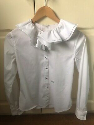 Miss Grant Girls White Frill Blouse/ Shirt With Diamond Buttons, Age 13-15 (44)