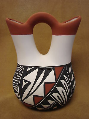 Acoma Indian Pottery Hand Painted Wedding Vase by Keith Sr. PT0253
