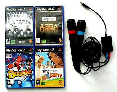 SINGSTAR QUEEN, ABBA, SUMMER PARTY, BOOGIE with 2 MICROPHONES PlayStation 2 PS2