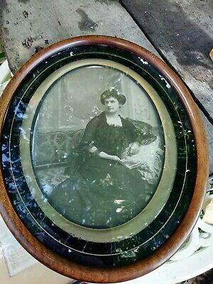 Antique Victorian Oval Mahogany Picture Photograph Frame Ebonised & Gilt C1897