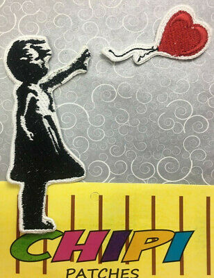 Banksy girl with balloon embroidery patch 2 pieces separated iron on backing dys
