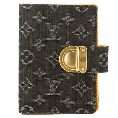 LV Louis Vuitton Denim Koala Monogram Agenda PM Logo Leather Interior