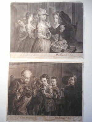 Pair Engraving Antique 18 18th Century Joahann Jakob Haid Painter German