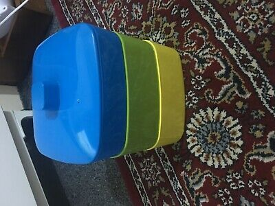 3 Tiers Reusable Lunch Boxes Food Storage Container Set 3 Bowls