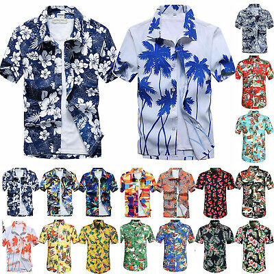 Men Blouse Hawaiian Shirt ALOHA PARTY Summer Beach Holiday Casual Tee Shirts Top