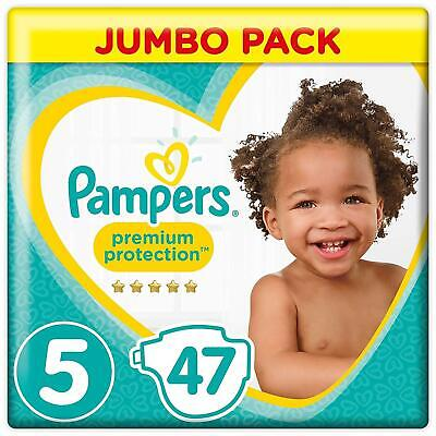 Pampers Premium Protection Baby Nappies Size 5 Disposable Cotton - Jumbo 47 Pack