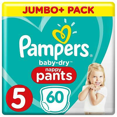 Pampers Baby-Dry Nappy Pants Disposable Cotton Nappies - Size 5 - Jumbo+ 60 Pack