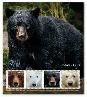 2019 Canada 📭 🐻🐻 BEARS - Souvenir Sheet with PANE of 4 MNH Stamps 🐻🐻📬