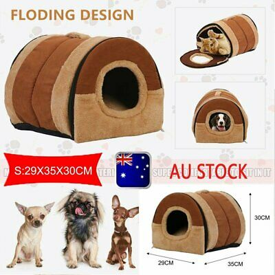 Pet Dog House Kennel Soft Beds Cave Cat Puppy Bed Warm Cushion Fold S NA