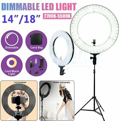 "18""/14"" 5500K Dimmable Diva LED Ring Light Diffuser Stand Make Up Beauty NA"