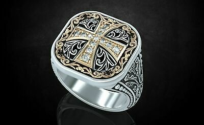 925 Seterling Silver Ancient Cross 0.19Ct Pave Diamonds Ring Size 7 - 11
