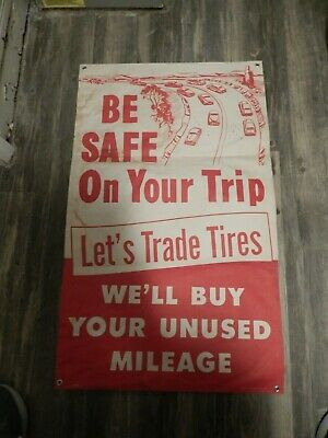 """Firestone Tires Vintage Advertising Poster 1950s """"Be Safe on Your Trip"""""""
