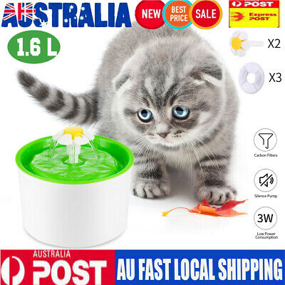 1.6L Pet Water Flower Fountain Dog Cat Drinking Bowl Dish US Automatic
