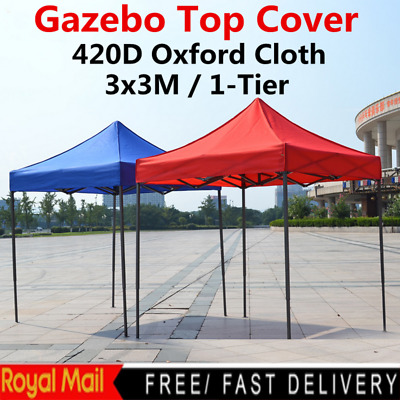 3x3m Garden Gazebo Top Cover Roof Replacement Fabric Tent Canopy 1-Tier UK