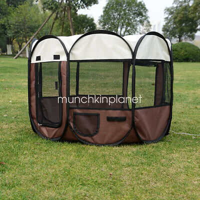 "48"" Brown Pet Soft Play Crate Cage Enclosure Tent Playpen Puppy Dog Cat Portable"