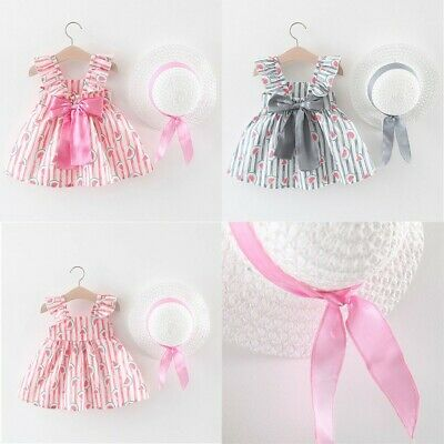 Toddler Baby Kids Girls Summer Floral Ruched Bow Princess Dress Hat Outfits Sets