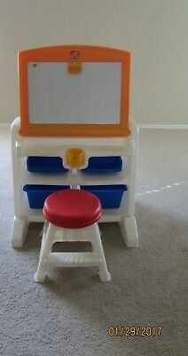 Groovy Exc Step2 Flip Doodle Easel Desk W Stool Kids Table Art Bralicious Painted Fabric Chair Ideas Braliciousco