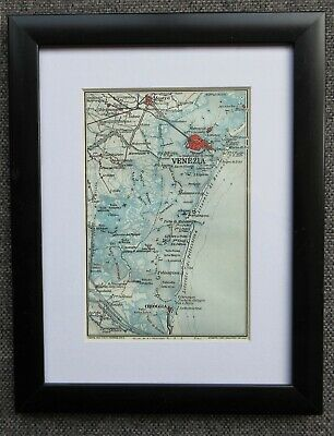 Small framed map of Venice + Environs - Chioggia Italy c1924