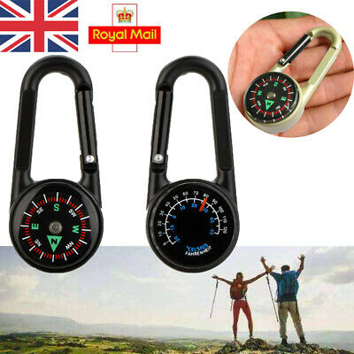 Metal 3 in 1 Compass Thermometer Outdoor Hiking Survival Ring Key Carabiner G6W5