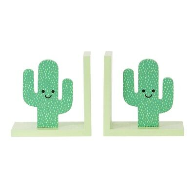 Sass & Belle Happy Cactus Green Bookends Free Standing Kids Children Decoration